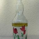 tulipános hangulatban FESTETT ÜVEG, Otthon, lakberendezés, Képzőművészet , Konyhafelszerelés, Kaspó, virágtartó, váza, korsó, cserép, Festett tárgyak, Üvegművészet,  Különleges formájú üvegre varázsolt virágos rét. Így jellemezhető ez az egyedi üveg.     Egyedi fes..., Meska