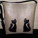 Cicás táska, Táska, Varrás, Capuccino   textilbőrből készítettem a cicás  táskát, merevített béléssel készült, Mérete 34cm *34c..., Meska
