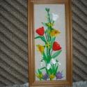 Tavasz 3 D-ben. Falikép, Dekoráció, Otthon, lakberendezés, Kép, Gyurma, Virágkötés, Egy 32x15 cm-es fa keretbe, kemény kartonra lenvásznat kasíroztam, és arra 3 D-s tavaszi virágokat ..., Meska