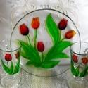 Tulipános kapucsínós. Szett, Konyhafelszerelés, Tálca, Bögre, csésze, Festett tárgyak, 20 cm átmérőjű üveg tálcára, melyen a hátulján a tulipános minta a tálcán van, üvegfestékekkel megf..., Meska