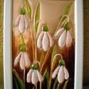 Hóvirágok. Rézdomborítás, Dekoráció, Otthon, lakberendezés, Kép, Falikép, Festett tárgyak, Fémmegmunkálás, 20 x 15 cm-es, fehér képkeretbe rézdomborítású képet készítettem, melyen a tavasz első virágai, a h..., Meska