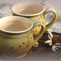 bögre-pár, Konyhafelszerelés, Otthon, lakberendezés, Dekoráció, Bögre, csésze, Kerámia, Fehérre égő agyagból korongolt 4 -4.5dl -es bögrék teának kávénak, de a fagyi is kikanalazható belő..., Meska