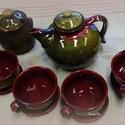 olivás -bordós tea szett négyesben, Konyhafelszerelés, Bögre, csésze, Kancsó , Kerámia, Korongolt edények, 4 csésze alátéttel, kanna és mézes/ cukros tároló kínáló hűvös estékre, vagy reg..., Meska