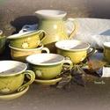 tavaszi csészés szett , Konyhafelszerelés, Dekoráció, Bögre, csésze, Kancsó , Kerámia, Tavaszi megújuláshoz készült a teás szett, ami 6 csésze és alj, egy kancsó egy cukros/mézes edénybő..., Meska