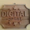 3D mart fa tábla, Dekoráció, Otthon, lakberendezés, Kép, Falikép, Saját tervezésű logó 3D-s modellje,fali akasztóval ellátva. Mérete : 200x250 mm,teljes vastag..., Meska