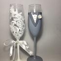 Csipke pezsgős pohár pár 2., Esküvő, Nászajándék, Gyurma, Szeretnéd felejthetetlenné tenni a nagy napot? Álmodd meg,és mi megvalósítjuk! Bármilyen színkombin..., Meska