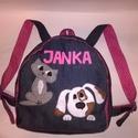 Hátizsák kutyus-cicus névvel pink, Baba-mama-gyerek, Táska, Hátizsák, Varrás, Kék színű farmer hátizsák. Kutya - cica rátéttel, filcből. Megbeszélés alapján készítettem a rátéte..., Meska