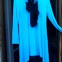 Tunika, kedvenc színben, Ruha, divat, cipő, Női ruha, Kendő, sál, sapka, kesztyű, Ruha, Festett tárgyak, Varrás, Újabb tunika,most türkiz kékkel festve,fekete géz sállal. Mellrésznél gombokkal,oldalt hosszított f..., Meska