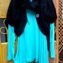 """Türkiz tunika boleróval, Ruha, divat, cipő, Női ruha, Ruha, Kabát, Festett tárgyak, Varrás, Újabb tunika,türkizzöld színre festve,lefelé bővülő fazonú,""""társa"""" egy fekete,kötött boleró. Tunika..., Meska"""