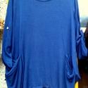 Blue effect, Ruha, divat, cipő, Női ruha, Felsőrész, póló, Festett tárgyak, Varrás, Royal kék színnel festett, tunika,lezser,bohém fazonnal. Alja két oldalán hosszabbra hagyva, kényel..., Meska