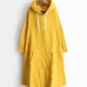 Kapucni mánia, Ruha, divat, cipő, Női ruha, Ruha, Foltberakás, Varrás, Sárga színben rendelt zsebes,kapucnis, extra hosszú pulóver. A zseb elől: kenguruzsebes Sárga színb..., Meska
