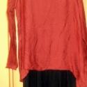 Vörös és fekete, Ruha, divat, cipő, Női ruha, Ruha, Foltberakás, Festett tárgyak, Burgundi színű,vékony blúz és fekete,elején csipke rátétes trikó,mindkettő szabálytalan  aljjal, a ..., Meska