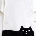 Lusta macska, Ruha, divat, cipő, Női ruha, Felsőrész, póló, Festett tárgyak, Fehér,jó minőségű pólóra  festett,fekete macska minta, mosható textilfestékkel festve. Több méretbe..., Meska