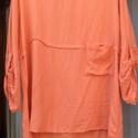 Rafinált blúz, Ruha, divat, cipő, Női ruha, Blúz, Festett tárgyak, Varrás, Kissé egyedi megoldással készült  női blúz,narancs-korall színnel festve. Hátul gombolhatós megoldá..., Meska