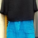 Black, Ruha, divat, cipő, Női ruha, Varrás, Fekete pamut anyagból készült rövid derekú,háromnegyedes ujjú pulóver,önmagában vagy alá öltözve  i..., Meska