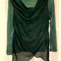 Smaragd románca, Ruha, divat, cipő, Női ruha, Festett tárgyak, Foltberakás, Vékony pamut pulóver, keresztbe varrt, áttetsző,fátyolos anyag rátéttel az elején. A ruha sötétzöld..., Meska
