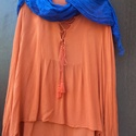 Tavaszváró tunikák-Kék-narancs, Ruha, divat, cipő, Női ruha, Blúz, Kendő, sál, sapka, kesztyű, Festett tárgyak, Varrás, Tavalyról megmaradt tavaszváró tunikák: Kék-narancs: kiegészítő színek,ellentétes  színpárok (kompl..., Meska