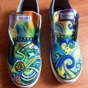 Cipő Újdonságok!, Ruha, divat, cipő, Cipő, papucs, Festett tárgyak, Az idei nyár újdonsága! Kézzel festett tornacipők,minden méretben! Absztrakt, graffiti mintás,színe..., Meska