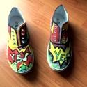 Mondj igent a cipőre!, Ruha, divat, cipő, Cipő, papucs, Festett tárgyak, Az idei nyár újdonsága! Kézzel festett tornacipők,minden méretben! Absztrakt, graffiti mintás,színe..., Meska
