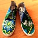 Bang!- Cipő Újdonságok!, Ruha, divat, cipő, Cipő, papucs, Festett tárgyak, Az idei nyár újdonsága! Kézzel festett tornacipők,minden méretben! Absztrakt, graffiti mintás,színe..., Meska