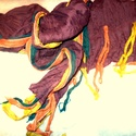 Lecsorgó fények sála, Ruha, divat, cipő, Női ruha, Kendő, sál, sapka, kesztyű, Sál, Foltberakás, Festett tárgyak, Alkony lecsorgó fényét, színes játékát, némán figyeli az ég. Mályva-bordó színű gyűrt sál,rongyos r..., Meska
