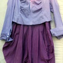 Rejtelmek, Ruha, divat, cipő, Női ruha, Ruha, Kabát, Festett tárgyak, Foltberakás, Rejtett csíkos ruha,batikolt kis,vászon kabáttal. A kabát lila és rózsaszín átmenetesre festve, elő..., Meska