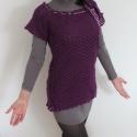 Sötétlila női horgolt felső, Ruha, divat, cipő, Női ruha, Felsőrész, póló, Horgolás, Horgolt, lila pulcsi vagy tunikának is hordható női felső., Meska