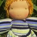 Gergő - waldorf fiú manó baba, Baba-mama-gyerek, Játék, Baba, babaház, Plüssállat, rongyjáték, Gergő rávarrt ruhás manókisfiú, akinek plüss ruhája nem levehető. Feje és teste gyapjúval van tömve,..., Meska