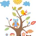 Falmatrica, Dekoráció, Baba-mama-gyerek, Falmatrica, Gyerekszoba, Mindenmás, A fa magassága 65 cm, a teljes kép magassága 95 cm. Az állatkák méretarányosak. A fa magassága a fő..., Meska