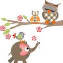 Baglyos, elefántos falmatrica, Otthon, lakberendezés, Dekoráció, Falmatrica, Mindenmás, Fotó, grafika, rajz, illusztráció, A faágon két bagoly szunyókál, anya és kisbaglya. A kissé ormótlan elefántocska virágot tart az orm..., Meska
