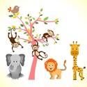 Állatos falmatrica, Dekoráció, Falmatrica, Fotó, grafika, rajz, illusztráció, Mindenmás, A falmatrica egy fa köré csoportosult állatseregletet ábrázol. elefánt,  oroszlán, zsiráf, majmocsk..., Meska