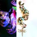 The dragonfly - szett AKCIÓ!, Ékszer, óra, Ékszerszett, Ékszerkészítés, Pasztell üveg gyöngyök, és egy szitakötő. A két soros lánc hossza 75-85 cm.   A szett része még egy..., Meska