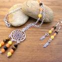 Indián lány - jáde, tigrisszem  ásvány nyaklánc, fülbevaló., Ékszer, óra, Ékszerszett, Nyaklánc, Fülbevaló, Ékszerkészítés, Ezüst színű láncra képzeltem el, ezt a pókháló mintás medált / álomcsapdát, melyet 6 mm-es narancso..., Meska