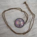 mandala szett, Ékszer, óra, Ékszerszett, Medál, Gyűrű, Ékszerkészítés, 2,5 cm átmérőjű medál, bronz színű foglalatban, üveglencse alatt, 60 cm-es bronz színű láncon.  1,6..., Meska