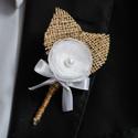 Kitűző vőlegénynek, Esküvő, Ékszer, óra, Hajdísz, ruhadísz, Bross, kitűző, Varrás, Kitűző vőlegénynek, tanúknak.   Mérete: 10 cm.   Más színben is kérhető! , Meska