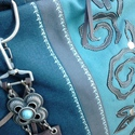 Kék tavasz , Táska, Szatyor, Válltáska, oldaltáska, Laptoptáska, Varrás, Erős,farmer hatású, több árnyalatú kék, fekete, szürke kárpitból állítottam össze a táskát.  Fekete..., Meska