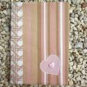 Jegyzetfüzet rózsaszín, Képeslap, album, füzet, Jegyzetfüzet, napló, naptár, Varrás, Három réteg anyagot varrtam össze ehhez a füzetborítóhoz. Rózsaszín, fehér, drapp színekből, csíkos..., Meska