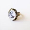 Különböző mintázatú  gyűrűk, Ékszer, óra, Esküvő, Gyűrű, Medál, Ékszerkészítés, Csodás antik állítható bronz gyűrű alapra fekete és vörös rózsa, cicapár, madárka,pávatoll képét zá..., Meska