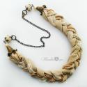 Vintage Statement nyaklánc, Ékszer, óra, Ruha, divat, cipő, Ékszerszett, A nyaklánc hossza 57,8 cm. A fonott rész szélessége 2,5 cm. Puha, több rétegben összefont muszlin, c..., Meska