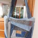 Patchwork egyedi táska , Táska, Válltáska, oldaltáska, Patchwork, foltvarrás, Varrás, Újra hasznosított farmerből készült táska, , elején, különféle színű betétekkel. tetején cipzárral ..., Meska