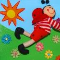 Katicabogár a mezőn- 3D-s vászonkép , Dekoráció, Baba-mama-gyerek, Gyerekszoba, Baba falikép, Festészet,  Az általam megtervezett mese képek,feszített vászonra, akrillal festettem fel.  Gyönyörű élénk szí..., Meska