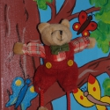 Maci a fán- 3D-s vászonkép, Baba-mama-gyerek, Gyerekszoba, Baba falikép, Festészet, Feszített vászonra akrillal festett kép. Gyönyörű élénk színeivel, kedves formáival és figuráival a ..., Meska