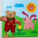Maci kutyával- 3D-s vászonkép, Baba-mama-gyerek, Gyerekszoba, Baba falikép, , Meska