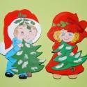 Karácsony fisfiú és kislány falidísz, Dekoráció, Karácsonyi, adventi apróságok, Karácsonyi dekoráció, Ünnepi dekoráció, Festészet, Ezek a békebeli gyermekfigurák karácsonyi hangulatot visznek az ünnepek alatt az otthonába. Kedves,..., Meska