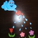 Eső felhő virágokkal gyerekszoba dekoráció, Dekoráció, Otthon, lakberendezés, Falmatrica, Falikép, Festészet,   A figurákat polisztirolból készítettem. Méretek:   Felhő:36*18 cm (1500 Ft) Virág: kb 14*10 cm (35..., Meska