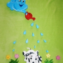 Eső felhő kiskutyávall gyerekszoba dekoráció, Dekoráció, Otthon, lakberendezés, Falmatrica, Falikép, Festészet,   A figurákat polisztirolból készítettem. Méretek:  Felhő:36*18 cm (1500 Ft) Virág: kb 5 cm (50 Ft)..., Meska