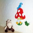 Gomba madárkával gyerekszoba dekoráció, Dekoráció, Otthon, lakberendezés, Falmatrica, Falikép, Festészet, Ez a kis  kollekció barátságossá varázsolja a gyerekszobát. Lefotóztam esti fényben is, hogy láthas..., Meska