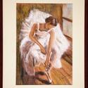 balerina fényárban-pasztell festmény, Otthon, lakberendezés, Képzőművészet , Festmény, Pasztell, Festészet,  Pasztell krétával készítettem ezt a képet, mely paszpartural ellátva, hozzá illő kerettel bekerete..., Meska