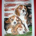 Beagle -kutya portré, Dekoráció, Képzőművészet , Festmény, Pasztell, Festészet, Három Beagle kölyök kutyáról készült ez a portré, pasztell krétával.   Paszpatú-val 32,5*25,5 cm né..., Meska