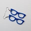 Szemüveg fülbevaló, kék, Ékszer, óra, Fülbevaló, Ékszerkészítés, A fülbevaló plexi alapanyaga és a hozzá használt Ródium bevonatos bizsualkatrészek is hipoallergéne..., Meska